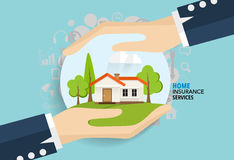 Home insurance business service. Vector illustration concept of. Insurance Royalty Free Stock Image