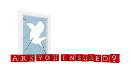 Home Insurance concept. Constructed from red and white boxes. With a broken window on background Royalty Free Stock Photos