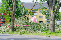 Home Insurance. Concept. House Hit by a Fallen Tree Royalty Free Stock Image