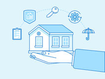 Home insurance concept - illustration and infographics design el Royalty Free Stock Image