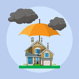 Home insurance concept. Umbrella over house. Insurance business. Vector illustration in flat design Stock Photos