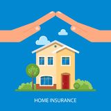 Home insurance concept. Vector illustration in. Flat design. Hands protecting house. Insurance business Stock Photos