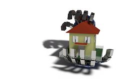 Home insurance concept on white, 3d render. Working Royalty Free Stock Image