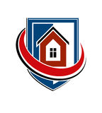 Home insurance conceptual icon, protection shield with vector si. Mple house. Design element, construction idea. Heraldry Royalty Free Stock Photos
