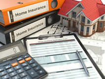Home insurance form, house, calculator and binders, Stock Photo