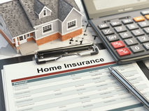 Home insurance form, house, calculator and binders, Stock Photography