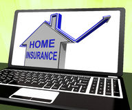 Home Insurance House Laptop Shows Protection And Cover Stock Photo