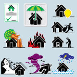 Home insurance icons. Set of vector icons with symbols home insurance Royalty Free Stock Image
