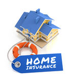 Home Insurance. Illustration on the subject of Real Estate Insurance. 3D rendering graphics on black background Royalty Free Stock Image