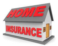 Home Insurance Means Residence Contract And Financial 3d Rendering Royalty Free Stock Photography