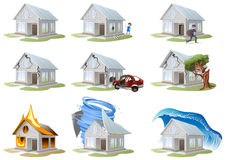 Home insurance. Property insurance. Big set house insurance Royalty Free Stock Photos