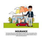 Home Insurance Services Banner With Agent Hold Umbrella Over Real Estate And Car Property Protection And Safety Concept. Vector Illustration Royalty Free Stock Images