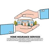 Home Insurance Services Banner With Hand Holding Real Estate Property Protection And Safety Concept. Vector Illustration Royalty Free Stock Photos