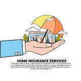 Home Insurance Services Banner With Hnad Hold Umbrella Over Real Estate Property Protection And Safety Concept. Vector Illustration Royalty Free Stock Photo