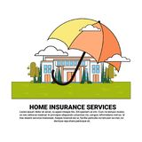 Home Insurance Services Banner With Umbrella Over Real Estate Property Protection And Safety Concept. Vector Illustration Stock Photography