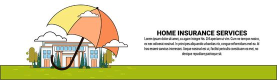 Home Insurance Services Banner With Umbrella Over Real Estate Property Protection And Safety Concept. Vector Illustration Stock Photo