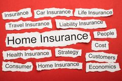Home insurance text on piece of torn paper Royalty Free Stock Photography