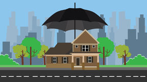 Home insurance with umbrella protection Stock Photo