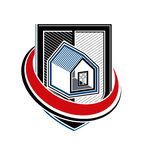 Home insurance vector conceptual icon, protection shield Royalty Free Stock Photo