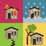 Home insurance vector illustration. Home insurance business set vector illustration with house icons suffering from nature disaster. Layout template for Royalty Free Stock Photography