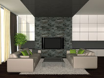 Home interior. 3d render of modern home interior Stock Photography