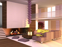Home interior. Interior of the house in purple-yellow colors Royalty Free Stock Image