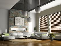 Home interior. With sofas 3D rendering stock images