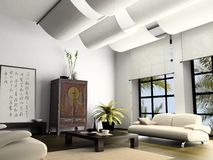 Home interior. With element of Chinese furniture 3D rendering royalty free stock photography
