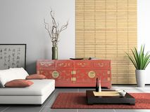 Home interior. With Chinese furniture 3D rendering stock illustration