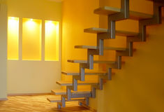 Home interior. With stairs and bay Stock Photography