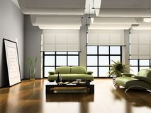 Home interior 3D. Home interior with sofas 3D rendering royalty free stock photography