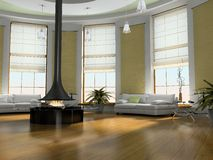 Home interior 3D. Home interior with fireplace 3D rendering Stock Photo