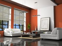 Home interior 3D rendering. Home interior with sofas red 3D rendering stock image