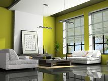 Home interior 3D rendering. Home interior with sofas green 3D rendering stock photography