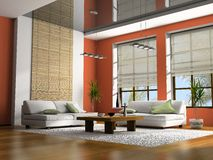 Home interior 3D rendering. Home interior with table and sofas 3D rendering royalty free stock photography