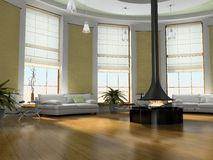 Home interior 3D rendering. Home interior with fireplace 3D rendering Royalty Free Stock Images