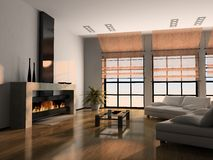 Home interior 3D rendering. Home interior 3D with fireplace rendering stock illustration