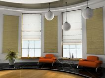 Home interior 3D rendering. Home interior with orange sofas 3D rendering Royalty Free Stock Photos