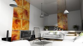 Home interior 3D rendering. Home interior with sofas 3D rendering royalty free stock image