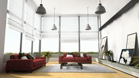 Home interior 3D rendering Royalty Free Stock Photo