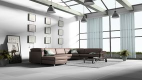 Home interior 3D rendering Stock Image