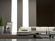 Home interior 3D rendering. Modern home interior 3D rendering stock illustration