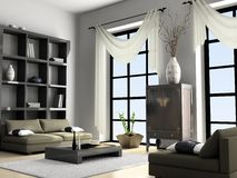 Home interior 3D rendering. Home interior Chine 3D rendering royalty free illustration