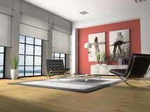 Home interior 3D rendering. Home interior with armchairs 3D rendering royalty free stock photos
