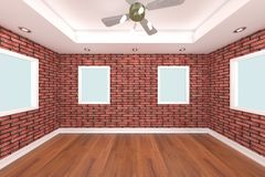 Home interior 3D rendering with brick wall Stock Photo