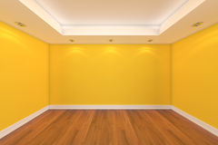 Home interior 3D rendering with empty room Royalty Free Stock Image