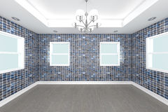 Home interior 3D rendering with tile wall royalty free stock photo