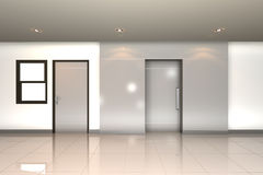 Home interior 3D rendering with twin door Royalty Free Stock Photo