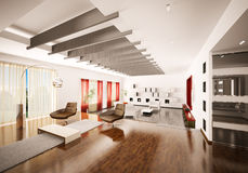 Home interior of apartment 3d render Stock Photo