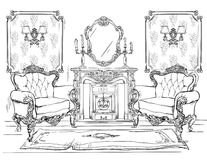 Home interior with armchairs and fireplace Royalty Free Stock Images